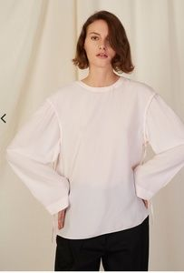 Cedric charlier silk pink bow tie oversize blouse